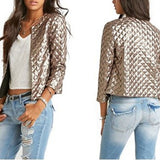 Vogue Women Sequins Stylish Solid Coat Fashion Short Slim