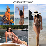 Brazilian Leopard One Piece Swimsuit Push Up Bikini - Sheseelady