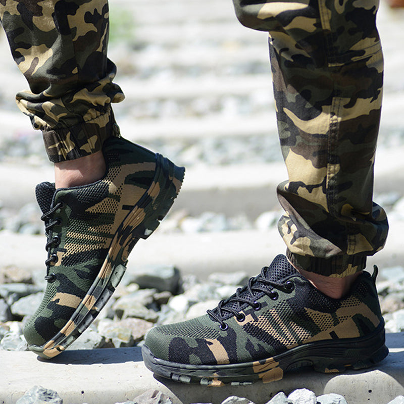 Camouflage Steel Toe Shoes Men Work Boots Breathable For Man Steel - Sheseelady