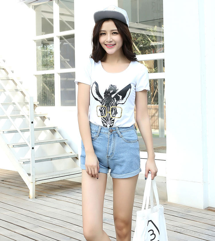 Casual New Korean Style Summer Vintage High Waisted Denim Women Shorts Plus Size Slim Stretch Turn Ups Female Jeans Shorts - Sheseelady