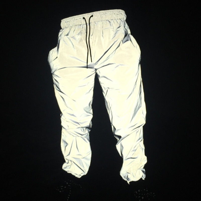 Hip Hop Reflective Pants Men Joggers Sweatpants Mens Streetwear Night Light Shiny Blink Long Pants For Couples