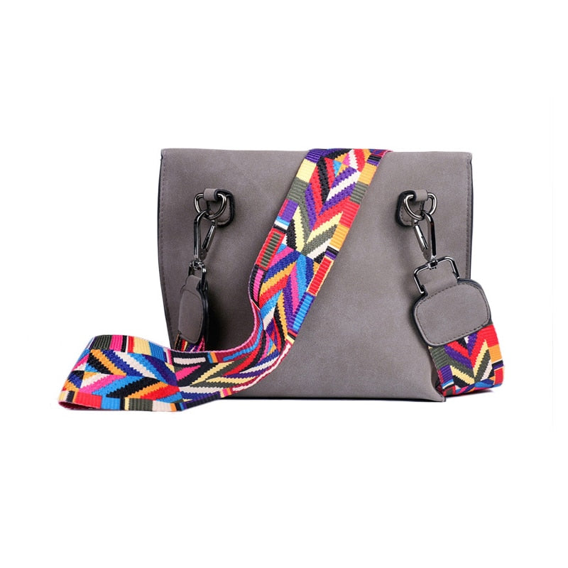 Scrub Pu Crossbody Bag Stylish Women'S Bag Tassel Shoulder Bags With Colorful Strap