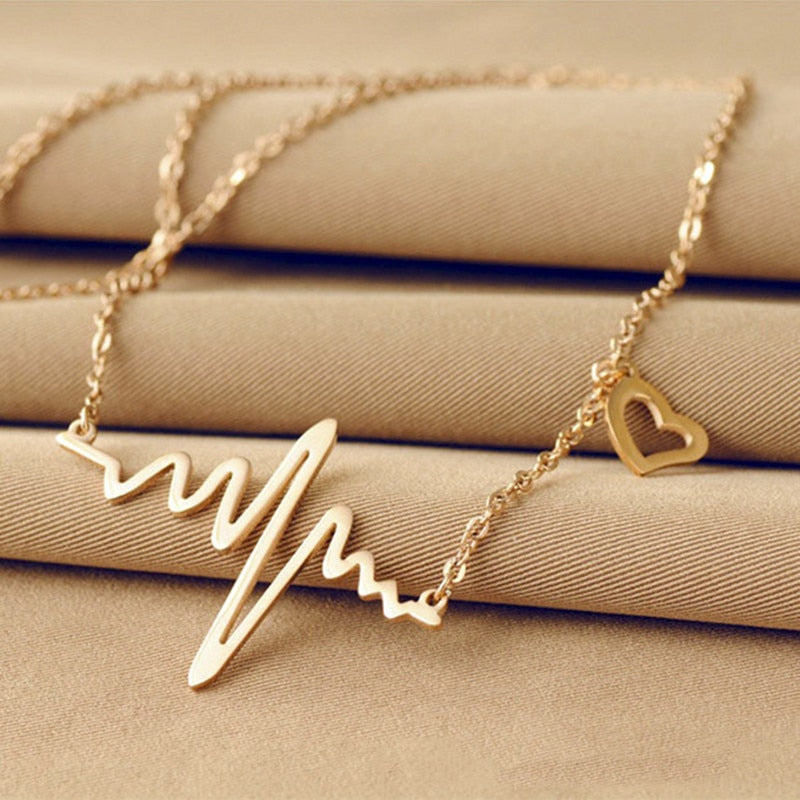 Ecg Necklace Love Shaped Titanium Steel Heartbeat Lockbone Chain Heart Pendant Necklace Female Retro Necklace Jewelry Accessories - Sheseelady