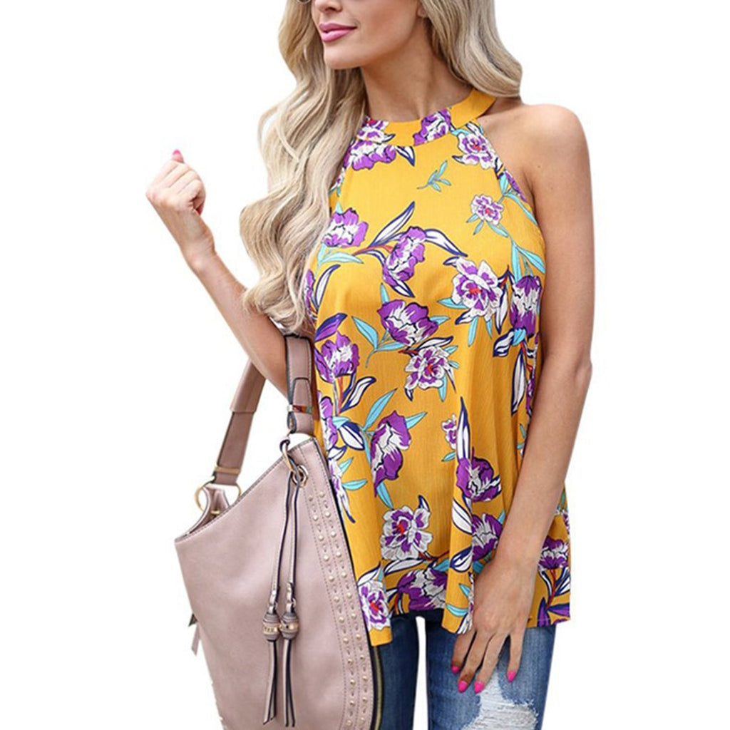Elegant Sleeveless Chiffon Tops Vintage Floral Printed Blouses - Sheseelady