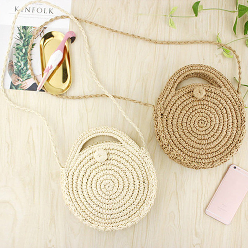 Round Paper Rope Beach Bag Summer Mini Vintage Handmade Crossbody Straw Bag Girls Circle Rattan Bag Small Bohemian Shoulder