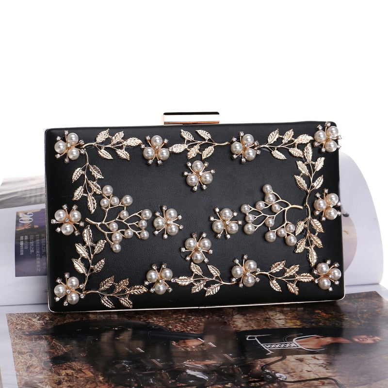 Pu Gold Leaf Metal Beaded Flap Handbag