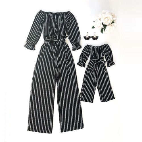 Fashion Striped Family Matching Clothes Mother And Daughter Clothing Mommy And Me Romper Women Baby Girl Casual Jumpsuit Outfits - Sheseelady