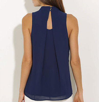 Top Fashion Chiffon Sleeveless Shirt Blouses
