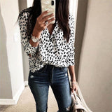 Leopard Fashion Long Sleeve V Neck Shirt& Blouse - Sheseelady