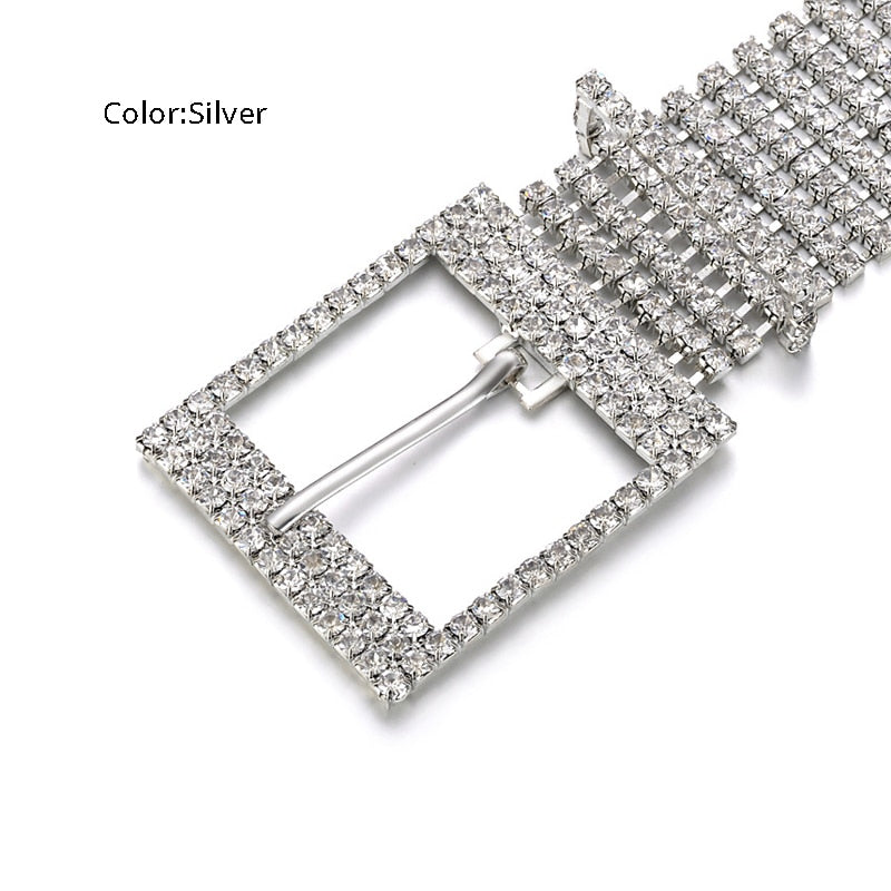 Fashion Luxury Women'S Rhinestone Belt Female Ten Row Bright Bride Wide Bling Crystal Diamond Waist Chain Belt Rhinestones - Sheseelady