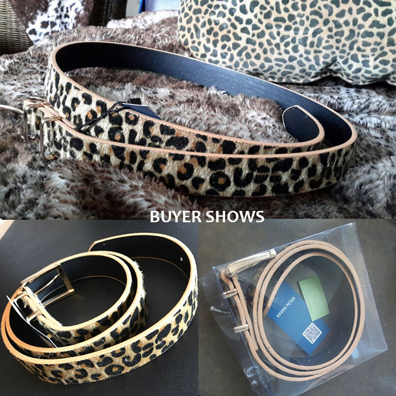 Female Belt Cummerbund Women Horsehair Belt With Leopard Pattern Rose Gold Metal Buckle S Women Pu Belt - Sheseelady