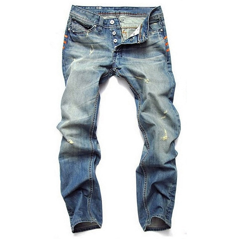 Casual Straight Slim Cotton Denim Men Jeans - Sheseelady