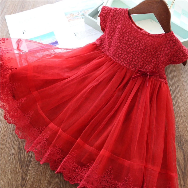 Casual Lace Floral Designs Dresses For Girls - Sheseelady