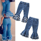 Flared Bell Bottom Boot Cut Pants For Toddler Girls