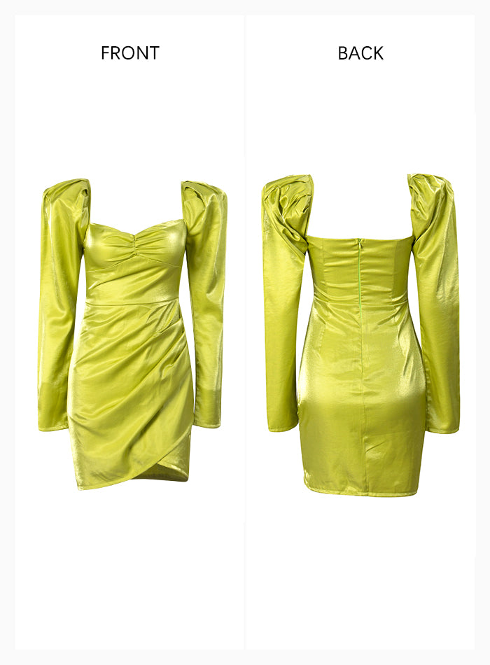 Sexy Green Square Collar Long Sleeve Reflective Material Party Mini Dress For Females