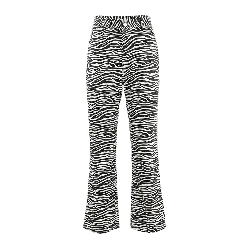 Zebra Animal Print Elegant Pants High Waist Trousers Casual Office Women Streetwear