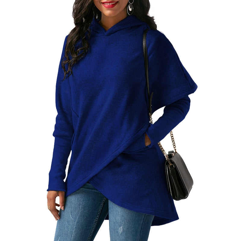 Women Casual Autumn Winter Long Sleeve Pocket Pullover Hoodie Female Warm Hooded Sweatshirt