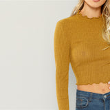 Elegant Solid Lettuce Trim Solid Sexy Knit Crop Top For Women Basic Shirt