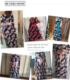 Elegant Printing O-Neck Loose Long Party Dress For Female