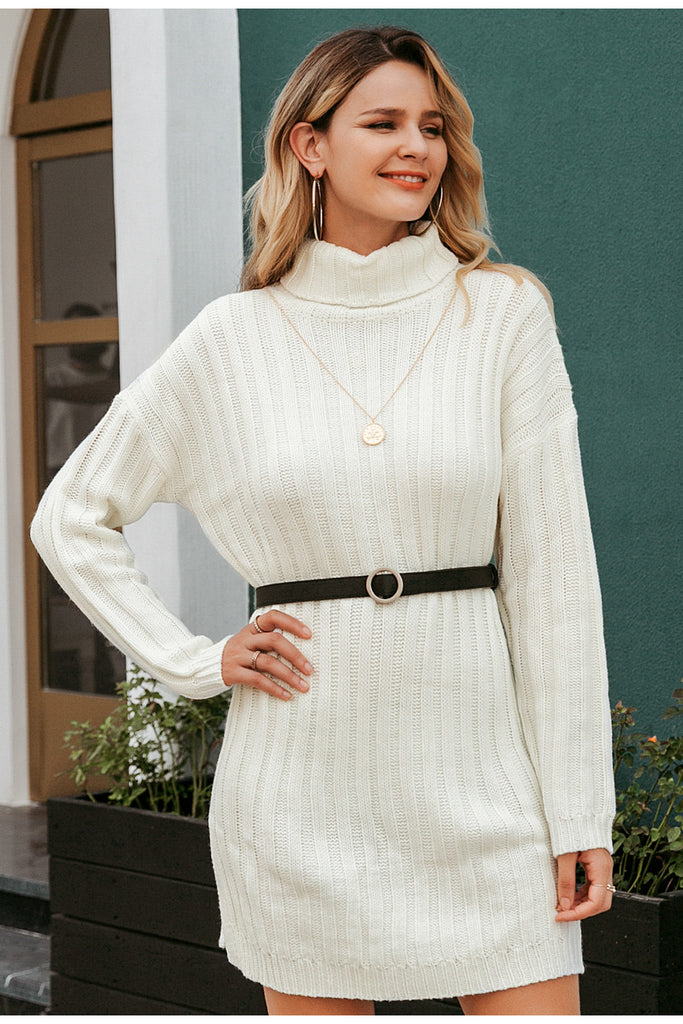 Sexy Elegant Knitted Turtle Neck White Sweater Dress