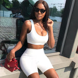 2 Piece Set Women Crop Tops And Biker Shorts Sweat Suits Sexy Club Outfits Two Piece Casual Tracksuit Matching Sets - Sheseelady