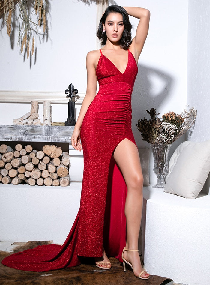 Sexy Red Deep V-Neck Cut Out Bodycon Shiny Elastic Fabric Maxi Dress For Ladies
