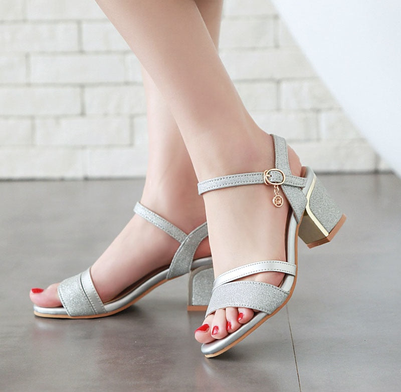 Women Sandals Block Heels Lady Party Shoes Glitter High Heels Summer Shoes Peep Toe Buckle Gold New Big Size