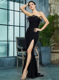 Sexy Black Strapless Cut Out Feather Long Dress For Ladies