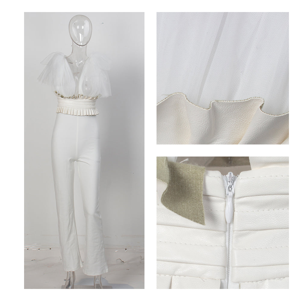 Sexy White V-Neck Upper Body Mesh Straps High Waist Fit Jumpsuit For Ladies