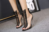 Summer Sandals Sexy Pvc Transparent Gladiator Sandals Cross Strappy Peep Toe Shoes Clear Chunky Heels Women Ankle Boots