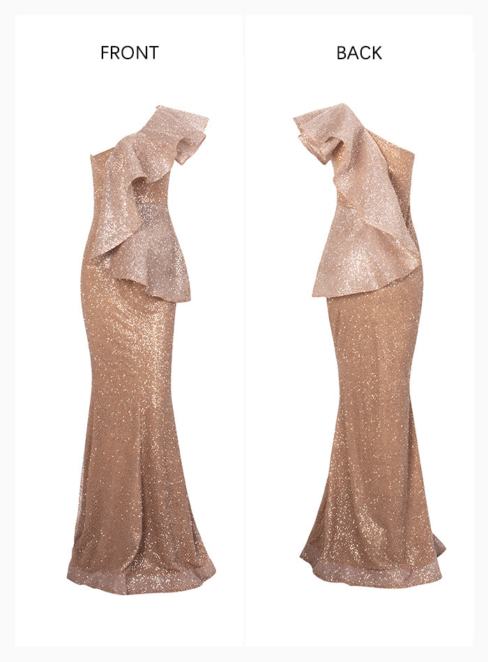 Sexy One Shoulder Ruffled Stitch Rose Gold Glitter Party Maxi Dress Females