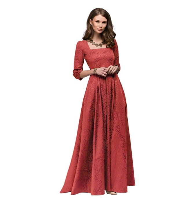 Elegant Square Collar Solid Color 3/4 Sleeve Party Long Dress For Women