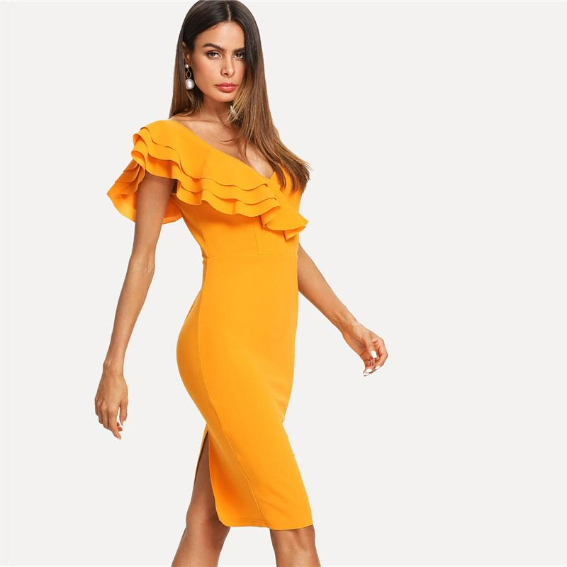Sleeveless Ruffle Layered Flounce Trim Split Back V Neck Party Bodycon Dress Women Summer Knee Length Slim Pencil Dress