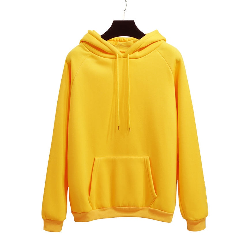 Casual Fleece Hoodies Sweatshirts Long Sleeve Yellow Girl Pullovers Loose Hooded Female Thick For Women