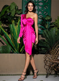 Sexy Hot Pink One-Shoulder Puff Sleeve Ribbon Decoration Bodycon Party Dress