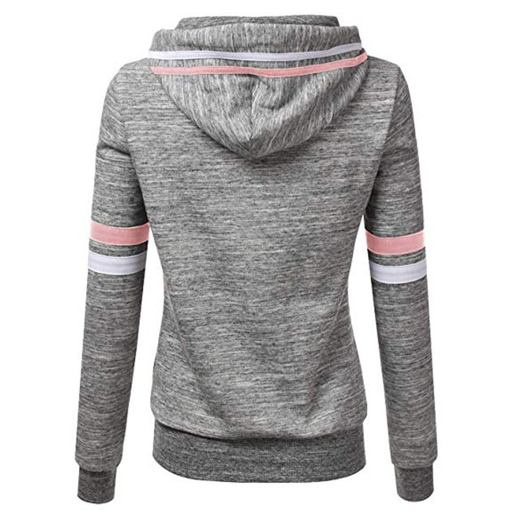Sweatshirts Ladies Women's Hoodies Stripe Long Sleeve Blouse Hooded Pullover Tops Shirt
