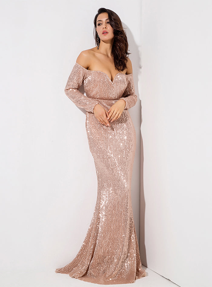 Gold Deep V Collar Long Sleeve Elastic Sequin Material Long Dress