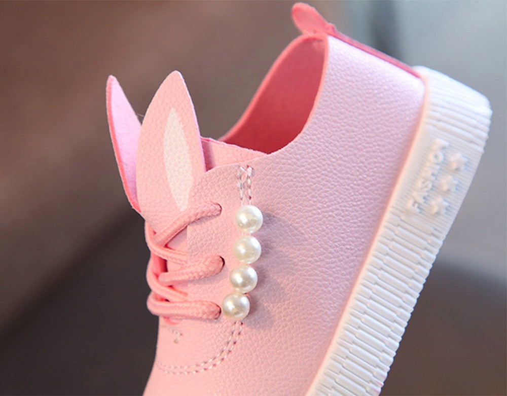 Toddler Girls Cute Pearl Rabbit Ear Casual Shoes