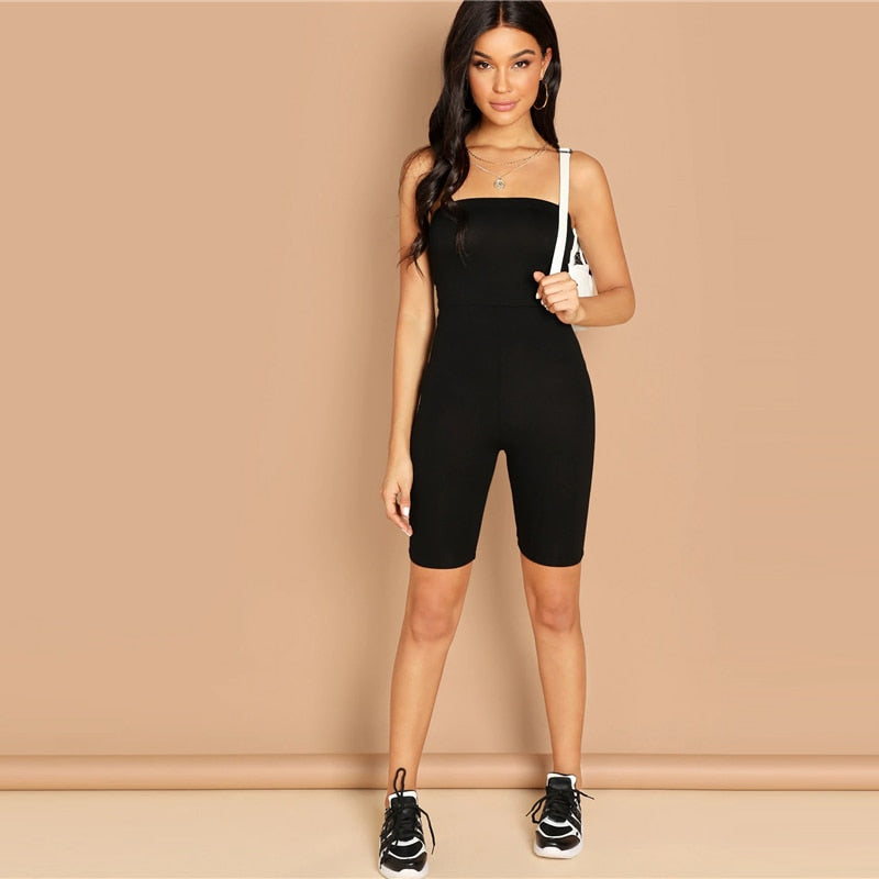 Sweatyrocks Black Skinny Glitter Strapless Tube Romper Sleeveless Streetwear Female Women Bodycon Playsuits And Jumpsuits