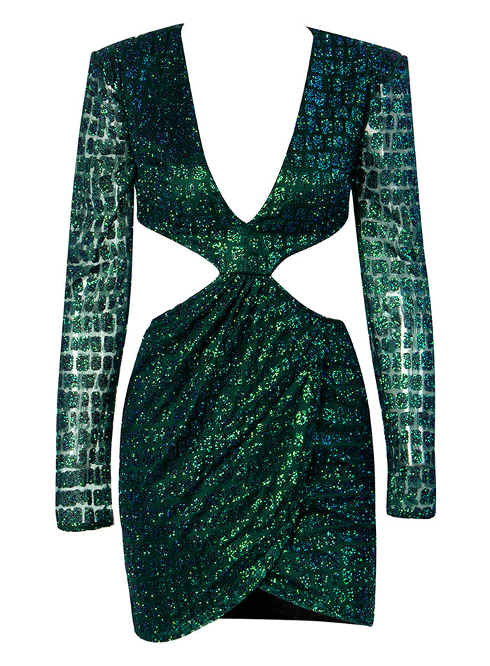 Sexy Green Deep V-Neck Glitter Glued Material Slim Fit Party Dress For Ladies