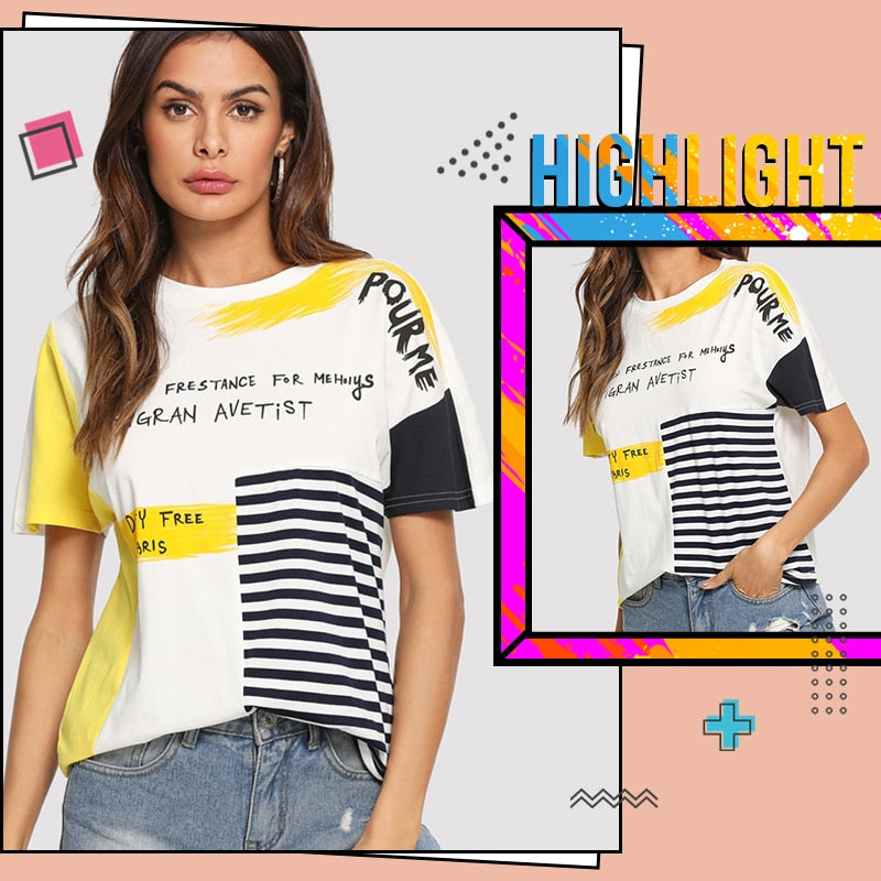 ROMWE Mixed Print Cut And Sew T-Shirt 2019 Short Sleeve Round Neck Tees  Glamorous Women Summer Letter Striped T Shirt