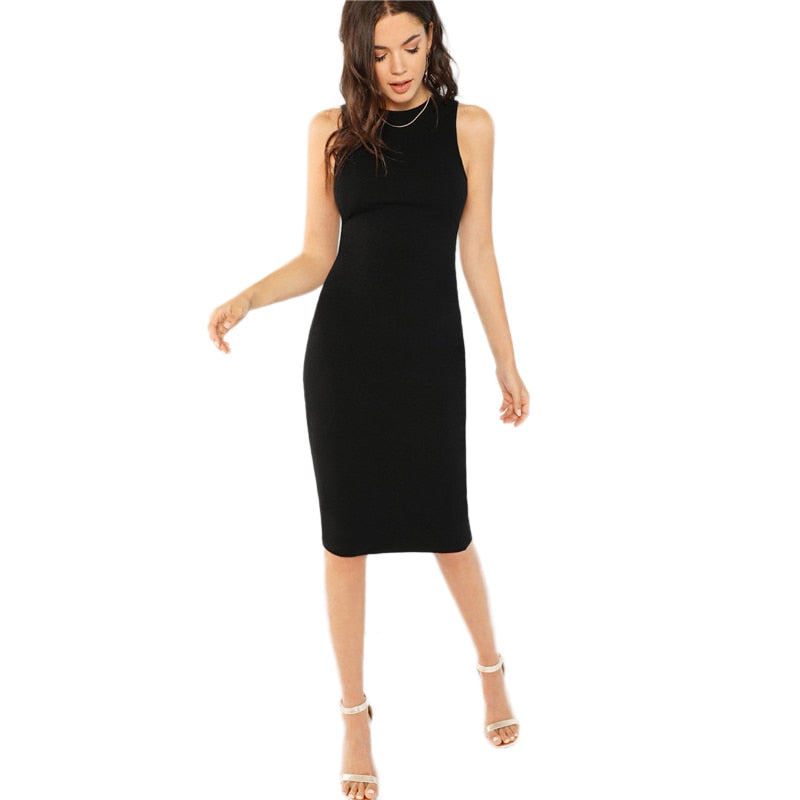 Black Bodycon Elegant Office Ladies Work Wear Dress Women Solid Sleeveless Knee Length Pencil Slim Midi Party Dresses - Sheseelady