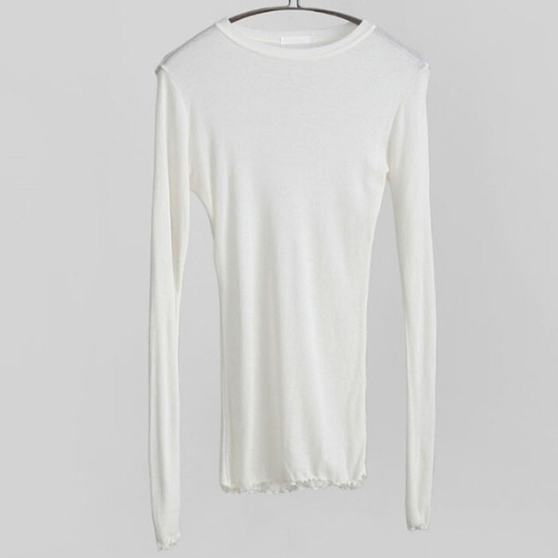 Cotton Elastic Basic Slim High Quality Plain Long Sleeve Sexy Thin T-Shirt See Through For Women