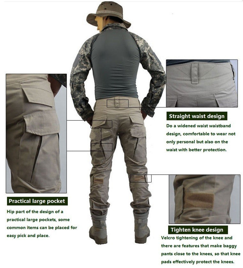 Camouflage Military Tactical Pants Army Military Uniform Trousers Airsoft Paintball Combat Cargo Pants With Knee Pads - Sheseelady