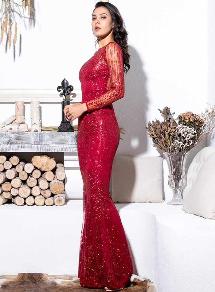 Crimson Round Neck Long Sleeve Perspective Back Glitter Glued Material Maix Dress
