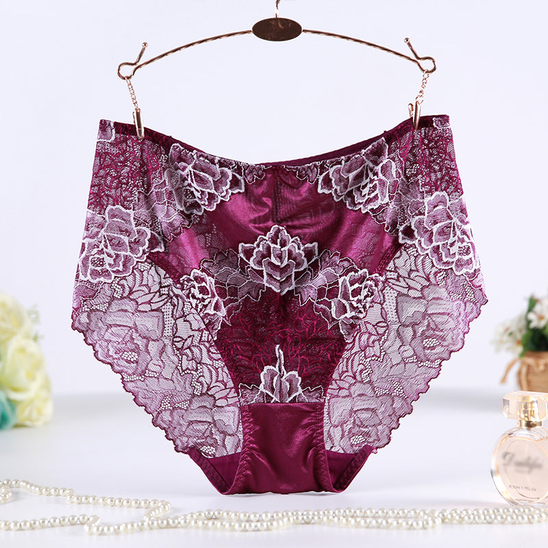 Women Plus Size 6Xl Panties See Through Lace Floral High Rise Women Underwear Briefs High Quality Soft Lingerie Pantie