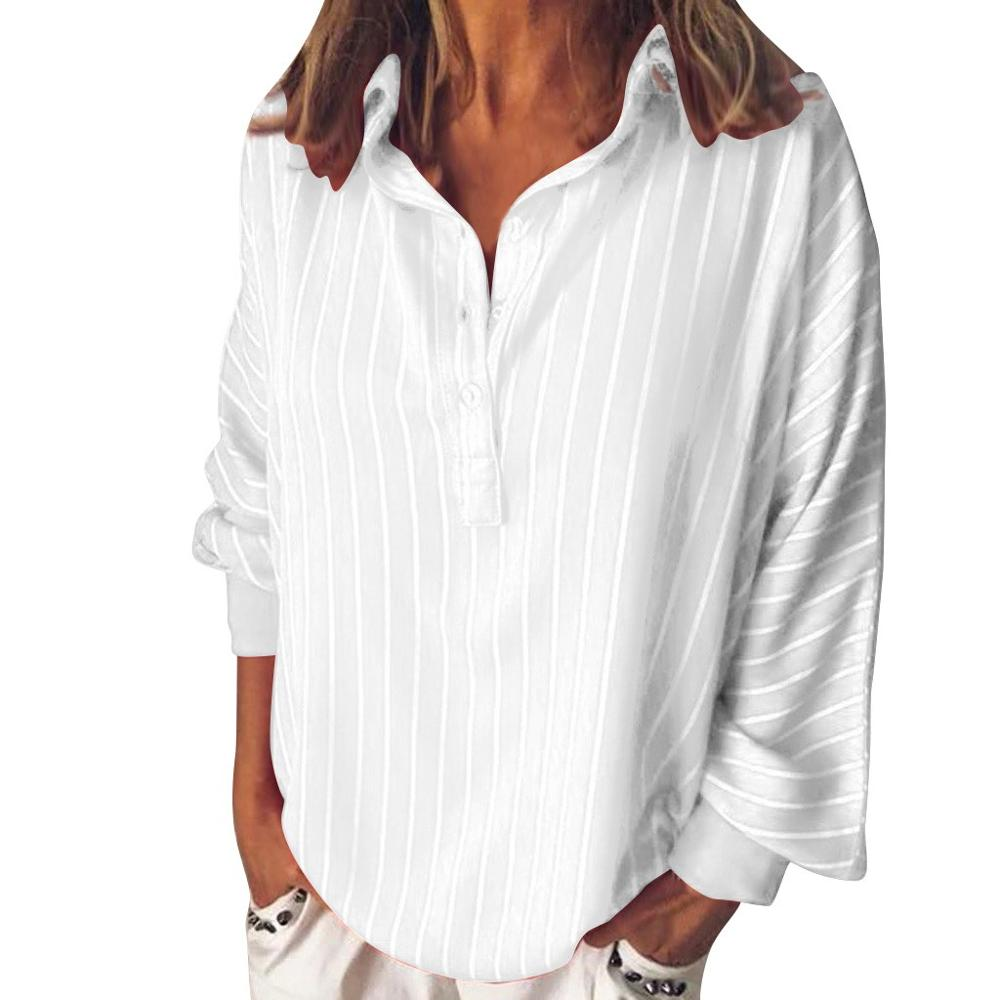 Fashion Summer Loose Casual Striped Button Lapel Girl Long Sleeve Shirt Top Blouse