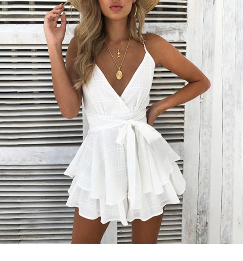 V Neck Sexy Female Floral Playsuit Romper