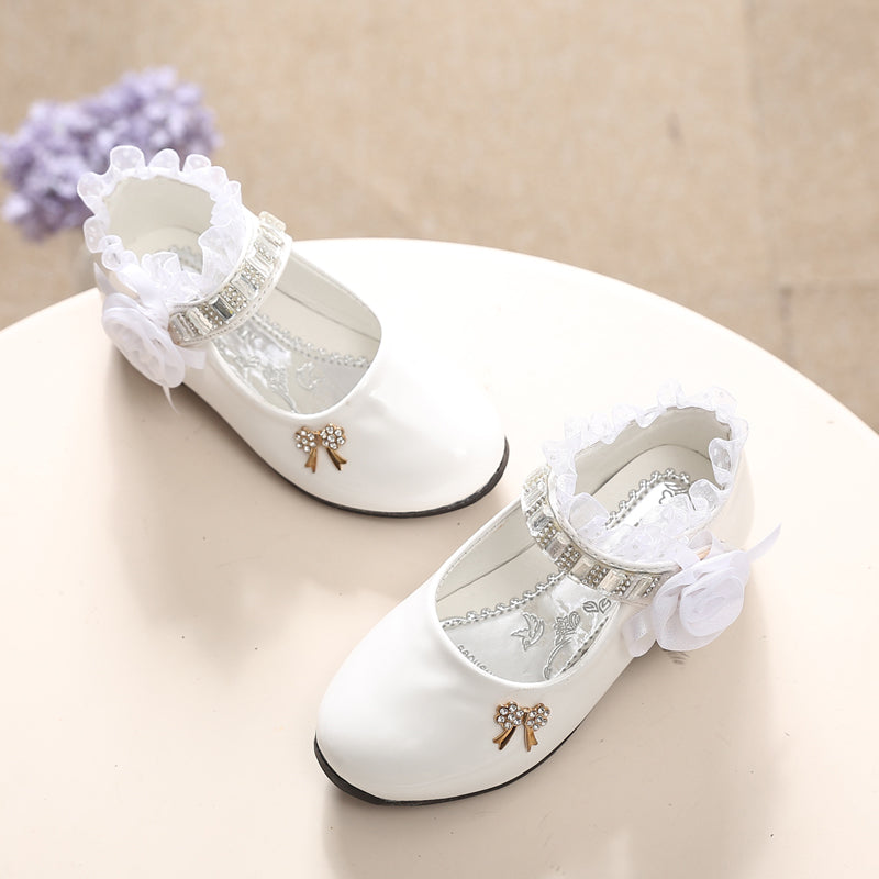 Princess Lace Pu Leather Cute Bow-Knot Shoes