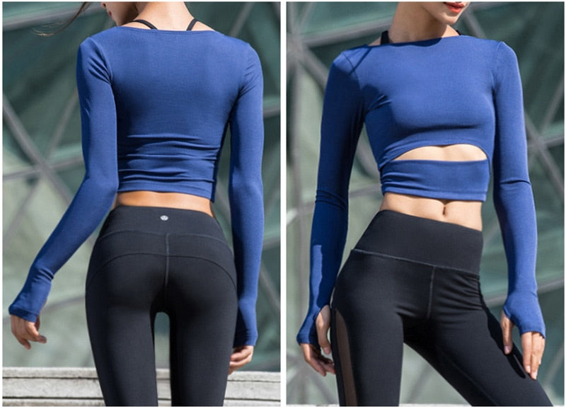 Women'S Fitness Yoga Shirts Top Full Sleeve Top Shirts Back Sweatshirt Workout Tee Yoga Running Top Activewear Sports Clothing